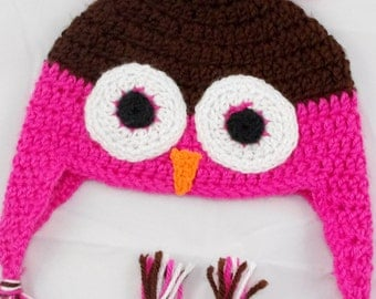 Crocheted Owl Hat With Earflaps