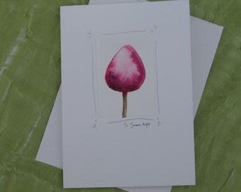 Tulip painting, blank notecard, original watercolor, hand-painted