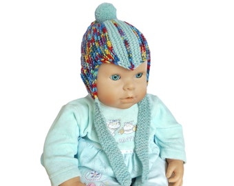 Baby Boy Bobble Hat; Hand Knitted Newborn Pom-Pom Hat; Knit Infant Mottled Hat BLUE RED YELLOW