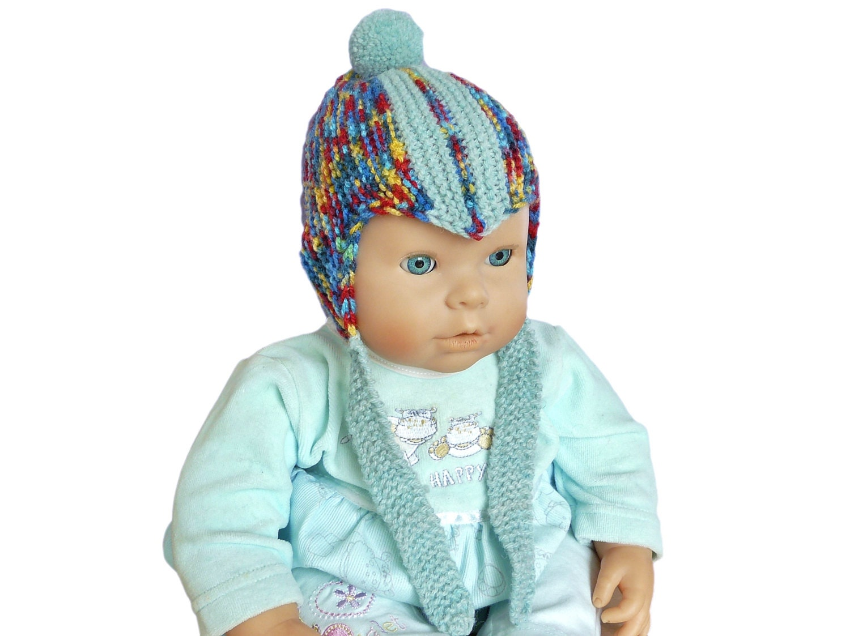 Baby Boy Bobble Hat Hand Knitted Pom-Pom Hat Knit Infant