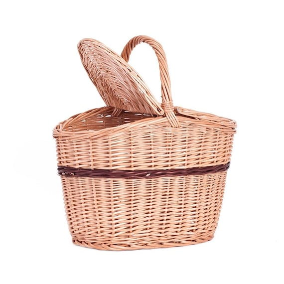 Picnic Basket Items : Items similar to picnic wicker basket with lids on etsy