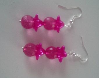 Pink Beaded Earrings   (#283)