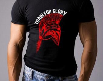 Train for glory. Black Men's Cotton T-shirt