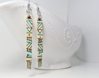 Wood Burned Mint Tribal Earrings