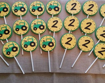 Tractor theme cupcake toppers- set of 24