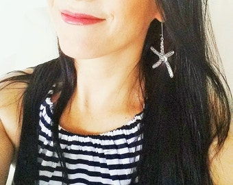 Starfish Dangle Earrings Silver Plated 1 Pair Large