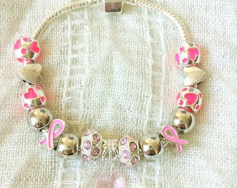 Pink Ribbon Awareness Glass Crystal Heart Charms Silver Plated Bracelet 7.5 Inches