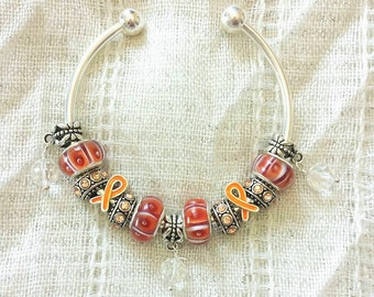 Orange Ribbon Awareness Charm Glass Lampwork Beads Silver Plated Bangle Bracelet 7.5 Inches