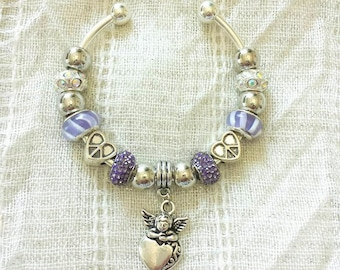 Angel Charm Purple Rhinestone Lampwork Glass Beads Peace Hearts Silver Plated Bangle Bracelet 7.5 Inches