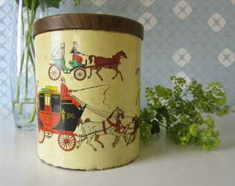 Vintage Mid-Century Tin Plate Container or Canister with Horse and Carriage