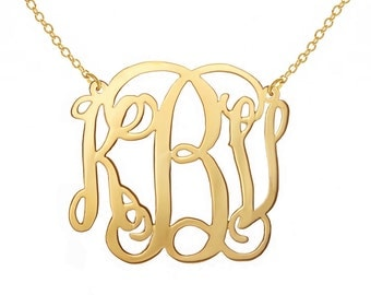 2 inch Personalized Monogram Necklace  2 inch 18k Gold plated Any initial Monogram necklace made with 925 silver