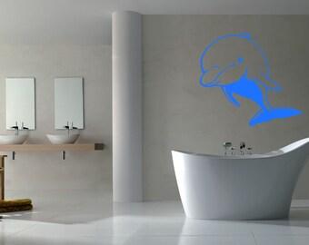 Wall Vinyl Sticker Decals Mural Room Design Pattern Art  Fish Dolphin  Ocean Sea bo1571