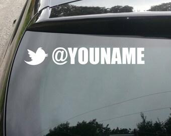 Custom Twitter Username Vinyl Decal Sticker (set of 2)