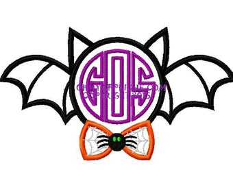 Halloween Monogram or Initial Bat with Spider Web Bow Tie Design Embroidery Applique Design