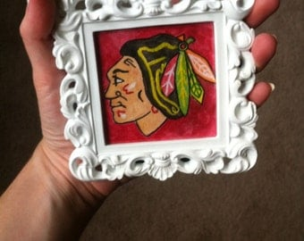 Mini Chicago Blackhawks Watercolor Painting