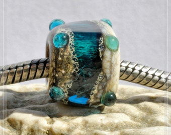 blue cave, Cube Collection Original Nemo Glass Bead, SRA, 10 x 12 mm OOAK