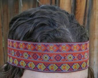 Men's headband Native American Aztec Tribal Inspired 70s vintage Bohemian festival style Burning Man festival 2 inch wide large headbands