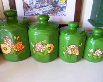 Kromex Vintage Bright Green Complete 4 Piece Canister Set from the 60's