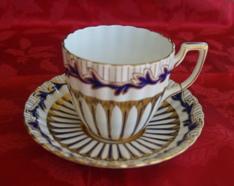 Royal Chelsea Cobalt and Gold Bone China Cup and Saucer