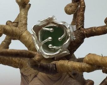Green sea glass flower ring