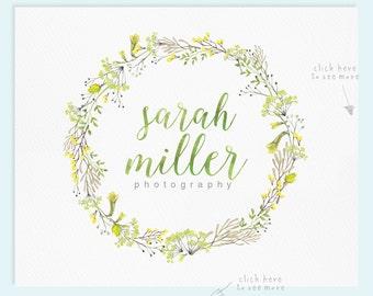 Wreath Logo Design / Premade Logo Design / Watercolor Logo / Photography Logo / Wedding Logo / Business Logo...