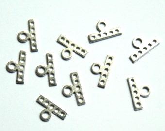 Silver metal 5 raws clasp / connectors. Bulk of 10 pces