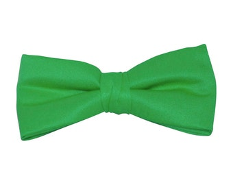 Emerald Green Satin Clip-On Bow Tie