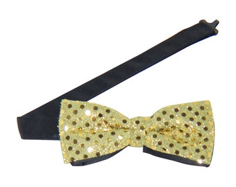 Gold Sequin Banded Bow Tie