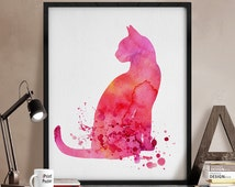 watercolor cat, cat print, cat watercolor, cat watercolor poster, cat poster, art, watercolor, wall art, animal poster, gift, home decor.