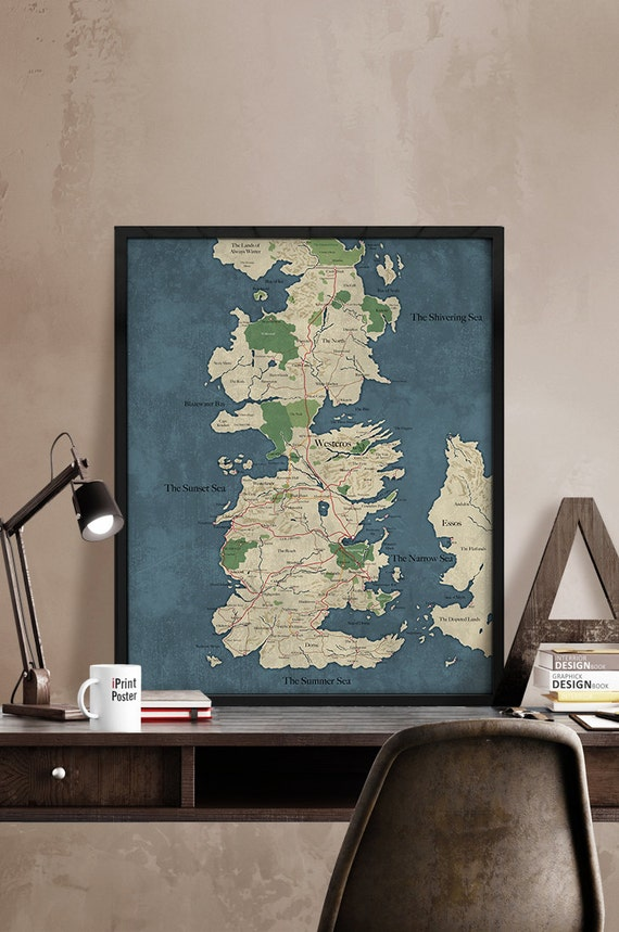 Game of Thrones Map Westeros Vintage Map Style by iPrintPoster