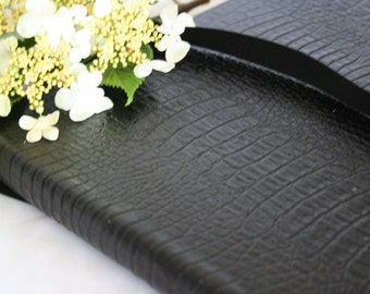 Landscape Visitors book/ Guest book bound in black hide leather with alligator print.