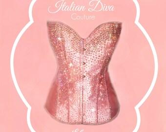 Luxury corset bustier Swarovski crystal model Elena pink