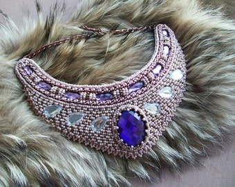 Bead embroidered necklace. Beadwork collar necklace. Beaded choker necklace. Beaded bib necklace.Purple cabochon necklace.Statement necklace