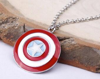 Captain America Shield Pendant Necklace 50cm Chain | Coloured Gloss Enamel Stainless Steel Avengers Marvel