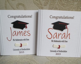 Handmade Personalised Graduation Card For Him or Her