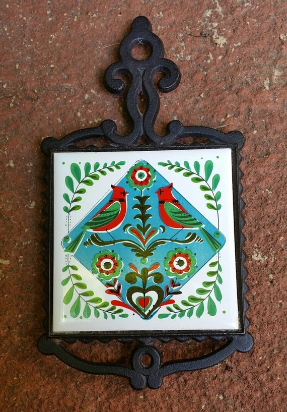 Vintage Ceramic Kitchen Tile Trivet