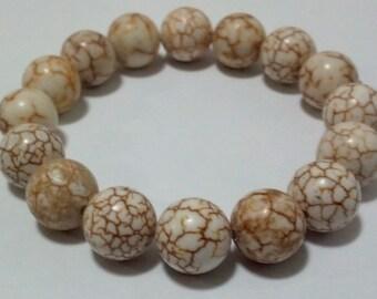 11mm Magnesite Bracelet, Magnesite Gemstone Bracelet, Magnesite Healing Mala, Yoga Bracelet, Meditation Bracelet, Gemstone Stretch Bracelet