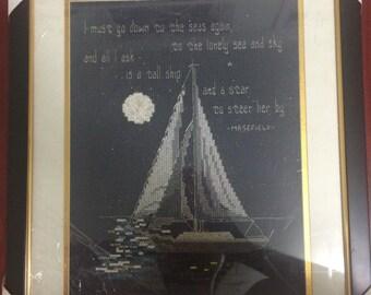 Handmade Cross-stitch (Ship & Boy, Girl)