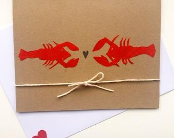Lobster Love Greeting Card, Nautical Theme Card, Blank Card