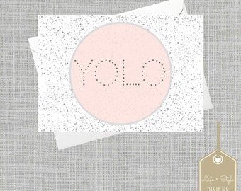 Blank Notecard Set, Blank Cards, Blush Pink Cards, Any Occasion Cards,Thank You Cards,Bridal Shower Cards,YOLO Card,Hello Card,French Card