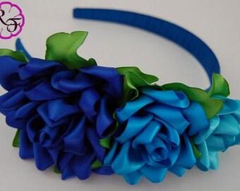 Kanzashi Flowers  , Blue  Roses Headband , flower girl headband