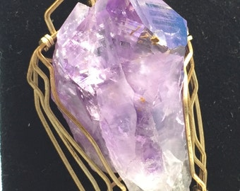 Large Amethyst Crystal Wire Wrapped Pendant - E33