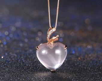 Apple 18k Rose Gold Rose Quartz Diamond Pendant Necklace Wedding Birthday Valentine's Mother's Day