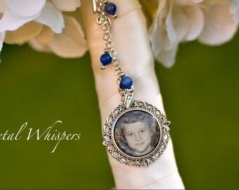 Something Blue Wedding Memorial Charm - Bouquet Photo Charm - Bridal Picture Charm - Custom Wedding Bouquet Accessory - Bridal Accessory