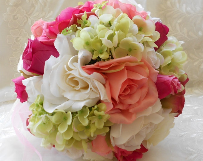 Silk bride Pink , green and ivory wedding bouquet roses and hydrangeas 15 pieces