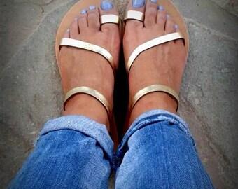 NEW Greek sandals!Gold strappy sandals!Genuine handmade!Women's sandals!Summer sandals! Gladiator sandals! Leather sandals!
