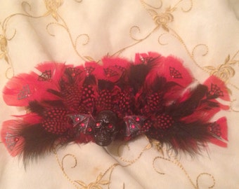 Batticia's Exotic Red Feather Hair Clip