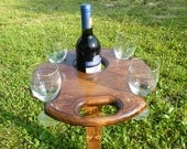 Outdoor Wine Table, Picnic Table, Wine Glass and Bottle Holder, Wine Table