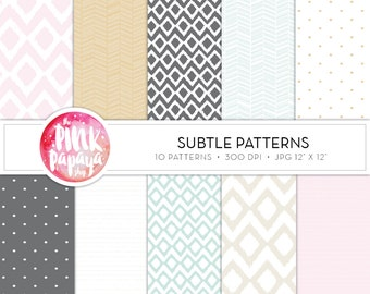 Digtal Paper Patterns | Subtle Patterns | 12 x 12 inches