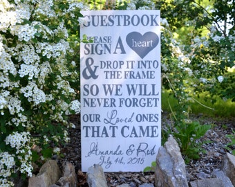 Wedding Guestbook - Wedding Signs - White & Grey - Personalized Sign